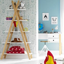 Teepee Bookcase for Kids Children Bookshelf Furniture Storage White Natural Solid Wood