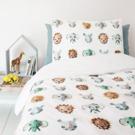 Wild Animals Duvet Set Kids Unisex Modern Pure Cotton Bedding Kidsroom Single Safari Pillowcase Printed