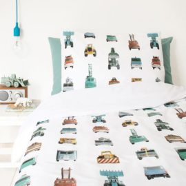 Work Vehicles Duvet Set Kids Boys Modern Pure Cotton Bedding Kidsroom Single Pillowcase Printed