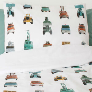 Work Vehicles Duvet Set - White (Single)