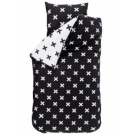 X Design Reversible Duvet Set for Kids Children Pure Cotton Black and White Bedding Bedroom plus Pillowcase