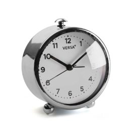 Alarm Clock Chrome Kids Children Bedside Bedroom Playroom Decor Accessories