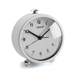 Alarm Clock White Metal Kids Children Bedside Bedroom Playroom Decor Accessories