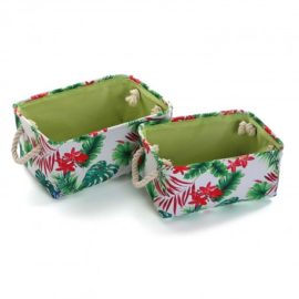 Fabric Set of 2 Baskets Storage Floral Girls Kids Children Toys Playroom Kidsroom Tidy up Organised Teen