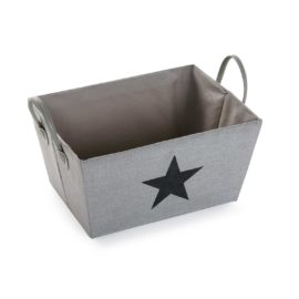 Fabric Star Storage Bin Grey with Dark Grey Star Kids Boys Children Storage Boxes Tubs Toys Playroom Organised