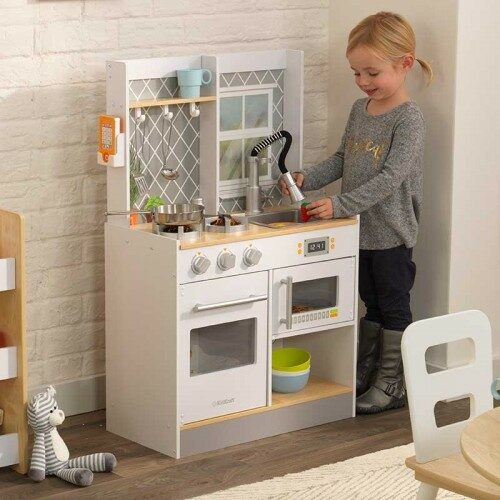 Lets Cook Wooden Kitchen for Kids Children Interative Pretend Play Playfood Microwave Sink Stove Cooker