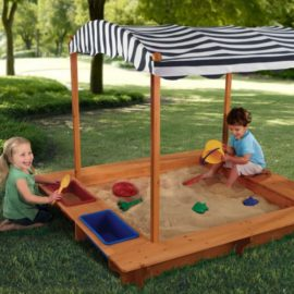 Outdoor Sandbox with Canopy Navy and White Stripe Kids Children Sandpit Weather Resistant Garden Solid Wood Sun Roof Water Play