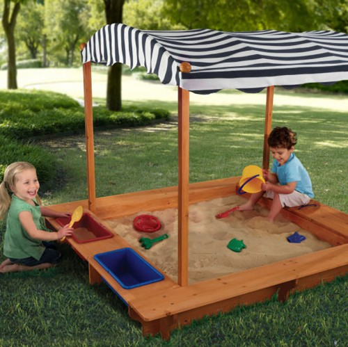 Outdoor Sandbox with Canopy - Navy/White by KidKraft