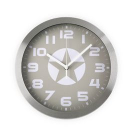 Wall Clock Star Grey Aluminium 30cm Kids Children Bedroom Playroom Decor Accessories