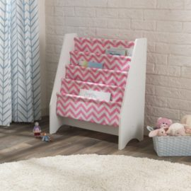 White Sling Bookcase Chevron Pink for kids Children Girls Readers Toddler Book Storage Fabric