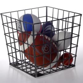 Wire Cube Tub Basket Storage Kids Children Sports Balls Black Galvanised Steel