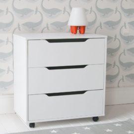 Chest of Drawers on Castors White by Little Folks Kids Children Furniture KIdsroom