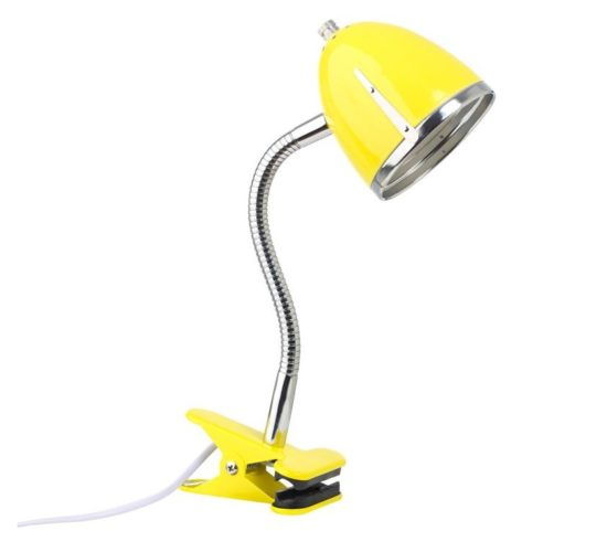 Clips Lamp Wood and Metal Combo Task Light Kids Children Desk Yellow