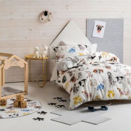 Pets Life Duvet Set for Kids Children Bedding Dogs and cats Furry Friends Cotton Bedroom