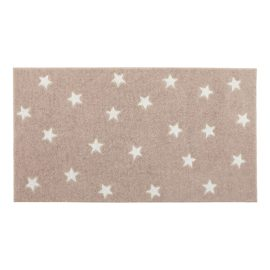 Rug Stars Pale Pink and White for Kids Children Polyester Bedroom Playroom