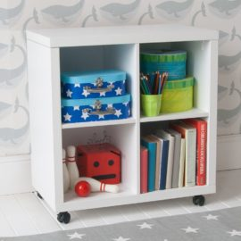 Storage Bookcase on Castors White by Little Folks Kids Children Castors