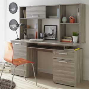 Harvey Study Desk with Hutch - Flintstone Oak