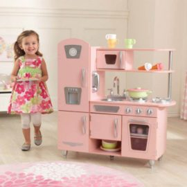Vintage Pink Play Kitchen Kids Children Playfood Cooking Pretend Play