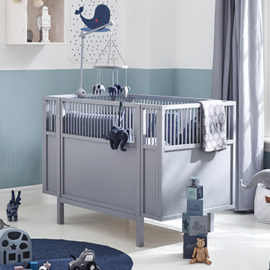 Baby Cot Nursery Kidsroom Grey Lifetime Bedroom Solid Wood Converter