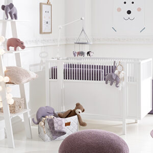Baby Cot with Adjustable Base - White by Lifetime Kidsrooms