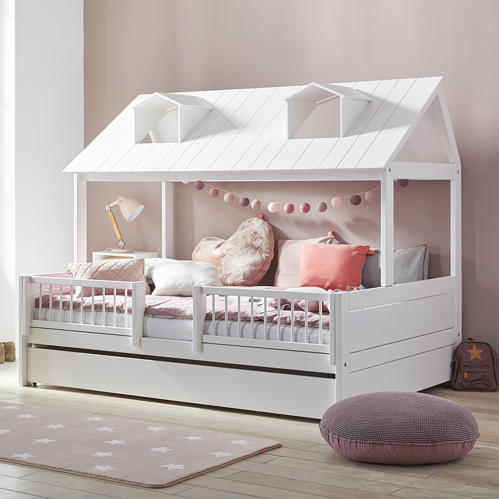 Beach House On Double Bed Solid Wood White For Children