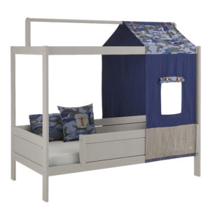 Cool Blue Camo Bed with Underbed Drawers, Solid Wood Grey by Lifetime Kidsrooms
