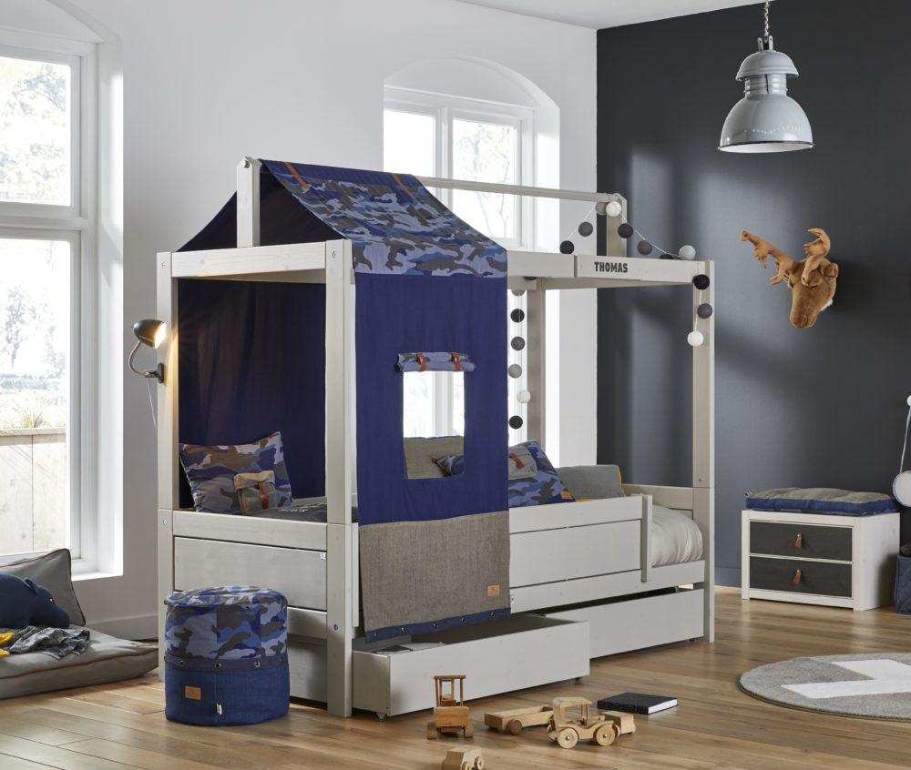 Cool blue camo bed with underbed drawers grey for children - Solid wood youth bedroom furniture ...