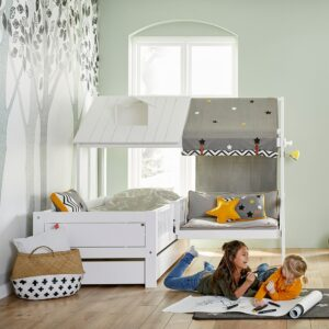 Beach House Corner Single Bed with Couch, Solid Wood - White by Lifetime Kidsrooms