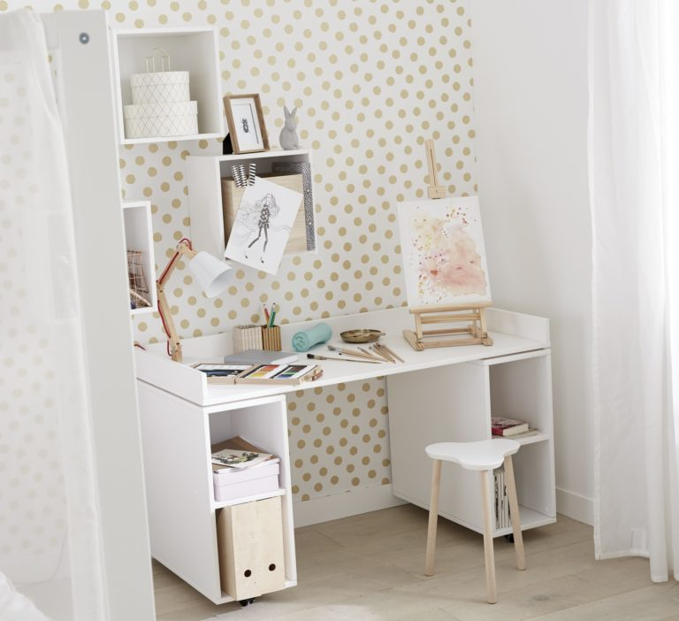 Desk on Castors with Cupboard Unit - White by Lifetime Kidsrooms