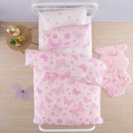 Flutter Butterfly Duvet Cover Single for Kids Children Bedding Bedroom Girls Pink Pure Cotton
