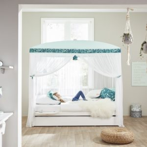 Four-Poster Bed with Botanical Canopy - White by Lifetime Kidsrooms