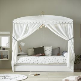 Four-Poster Bed with Dottie with Crown Canopy White by Lifetime Kidsrooms Children Gilrs Bedroom Furniture Solid Wood