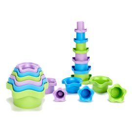 Green Toys Stacking Cups Toddler Kids Children Eco Friendly Water Bath Fun Games