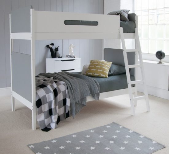 Simple Bunk Bed White with Grey Bedroom Kidsrooms Kids Children Furniture