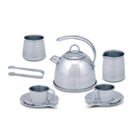 Stainless Steel Tea Set and Storage Stand Kids Children Play Make Believe Melissa and Doug