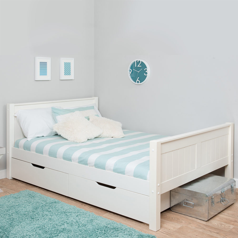 Classic Single Bed With Trundle Bed By Stompa: Classic Small Double Bed With Underbed Drawers 4ft By