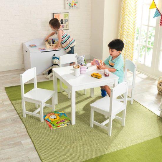 Farmhouse Play Table & 4 Chair Set - White