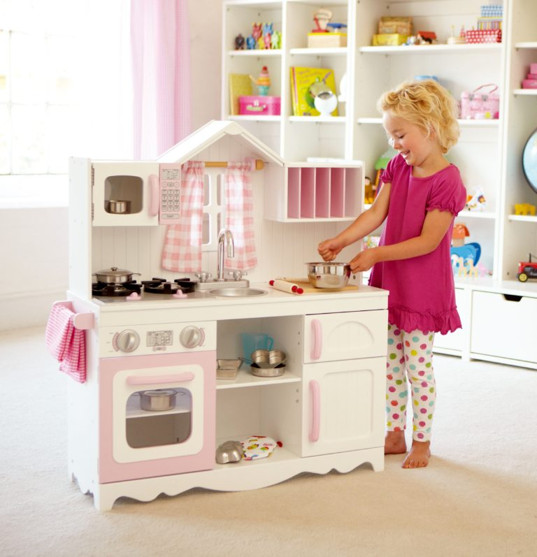 Modern Country Wooden Play Kitchen By KidKraft For Kids In