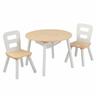 Round Play Table & 2 Chair Set - White/Natural