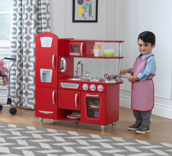 Vintage Wooden Play Kitchen - Red