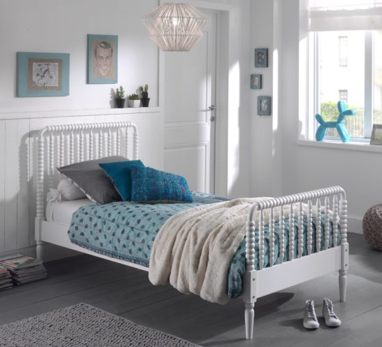 Alana Single Bed, Solid Wood - White