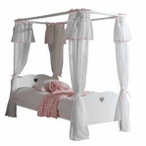 Amori Four Poster Bed with Canopy - White