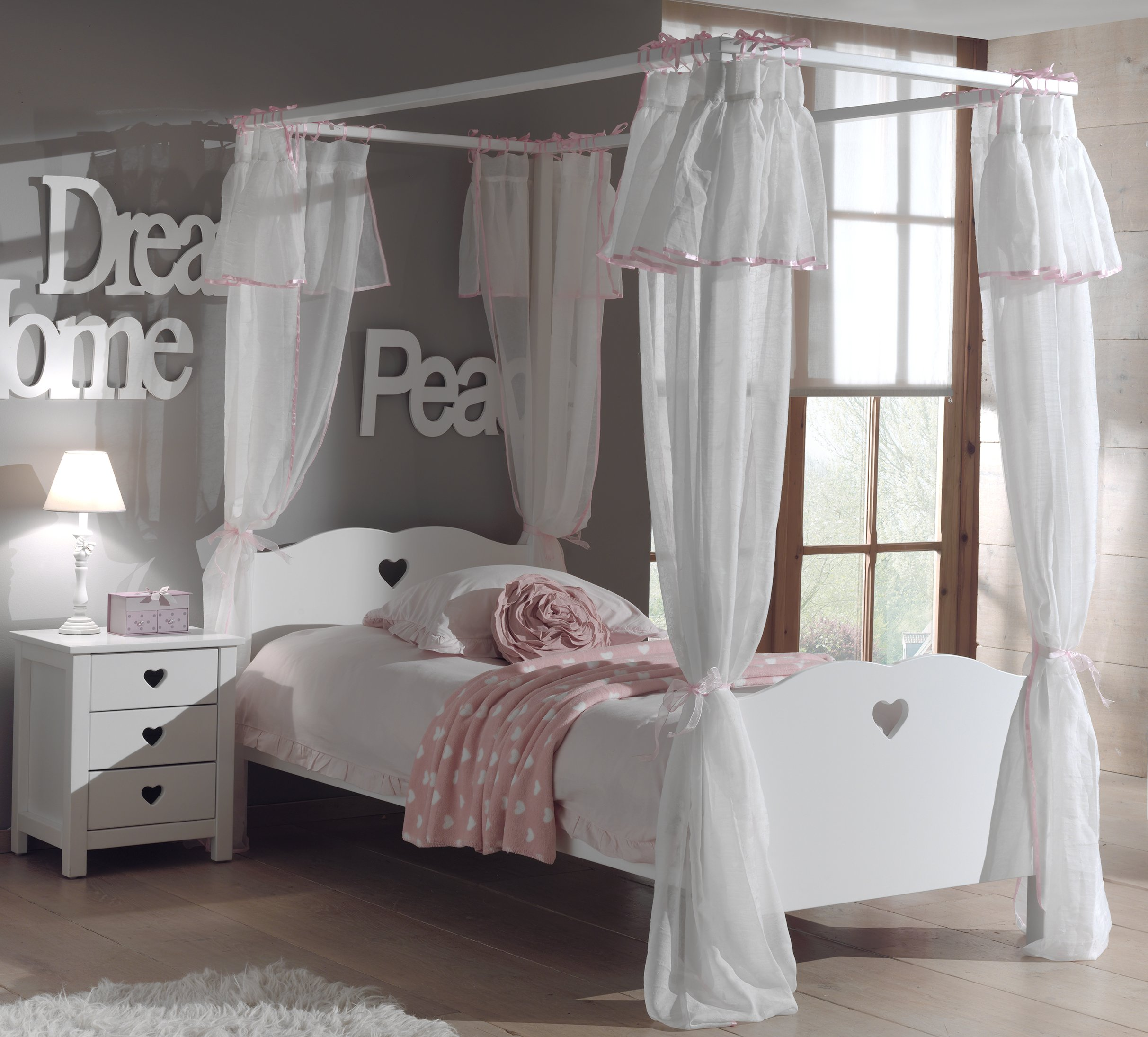Amori Four Poster Bed With Canopy White