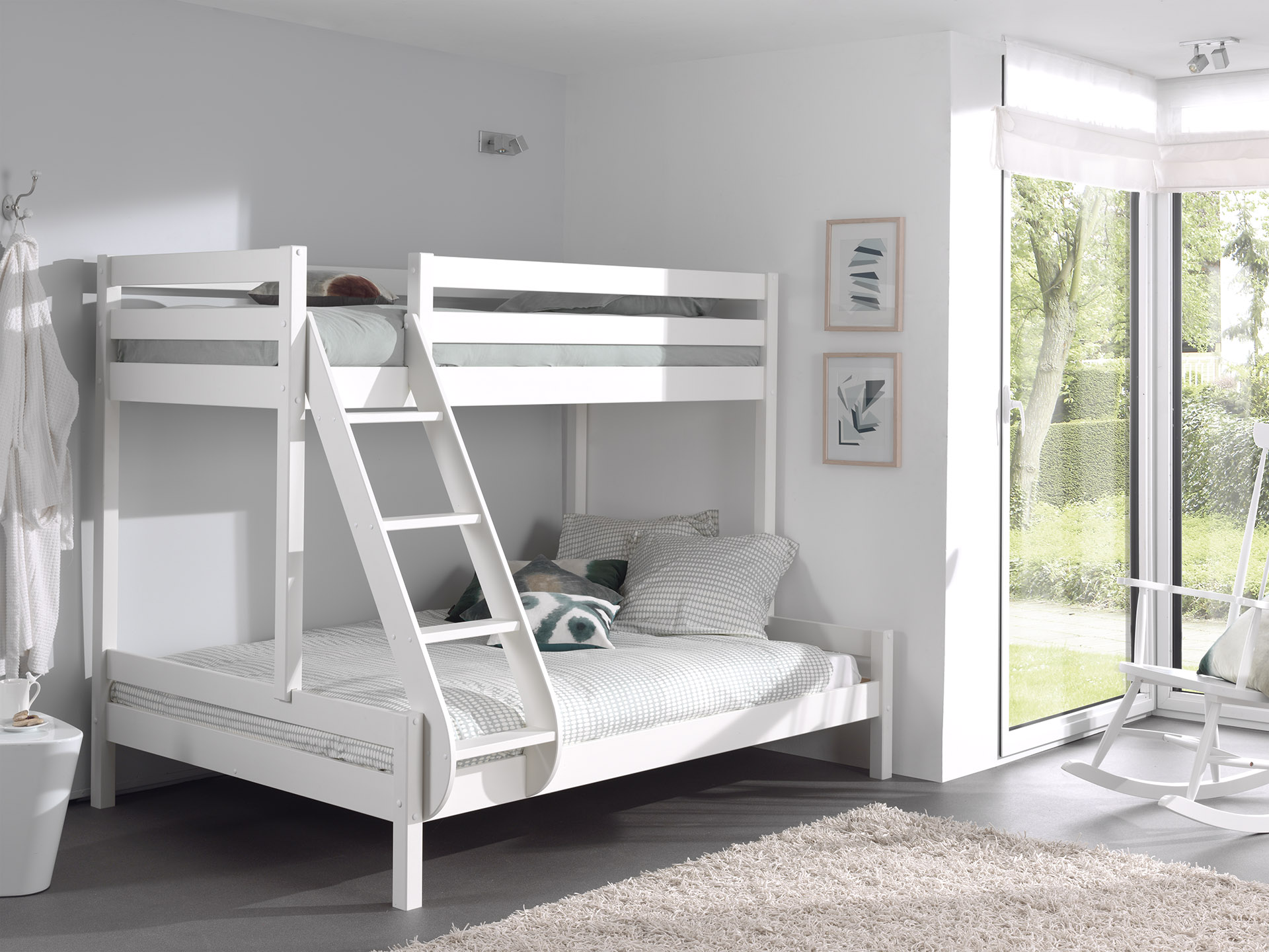 Picture of: Family Double Bunk Bed Or Triple Sleeper Bed Solid Wood White