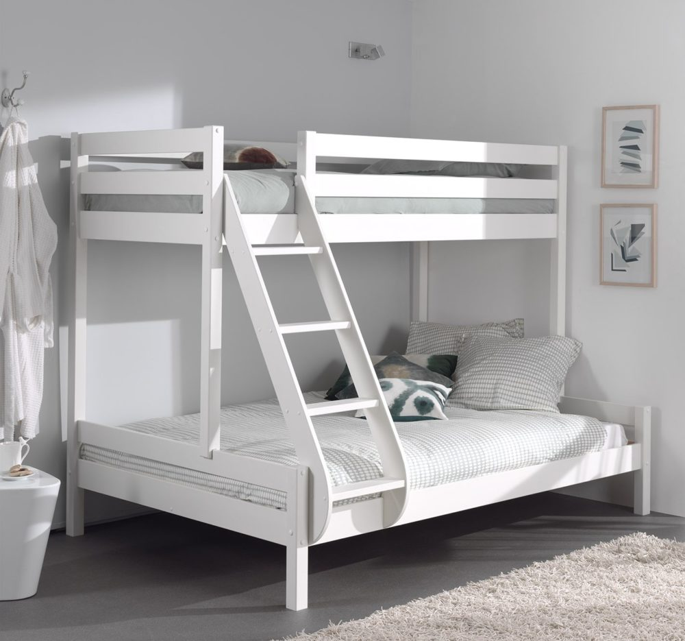 Family double bunk bed or triple sleeper bed solid wood white - All in one double bed ...