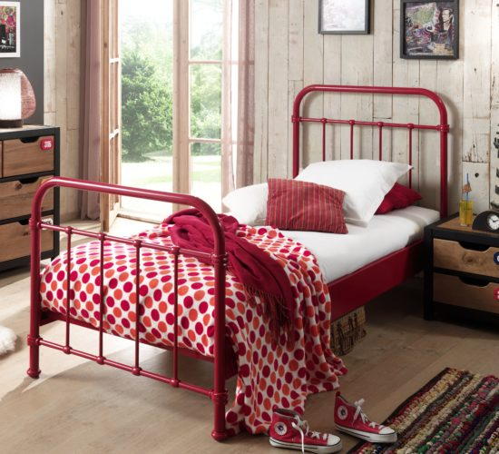 Oxford Metal Bed incl Slats - Red (Single)