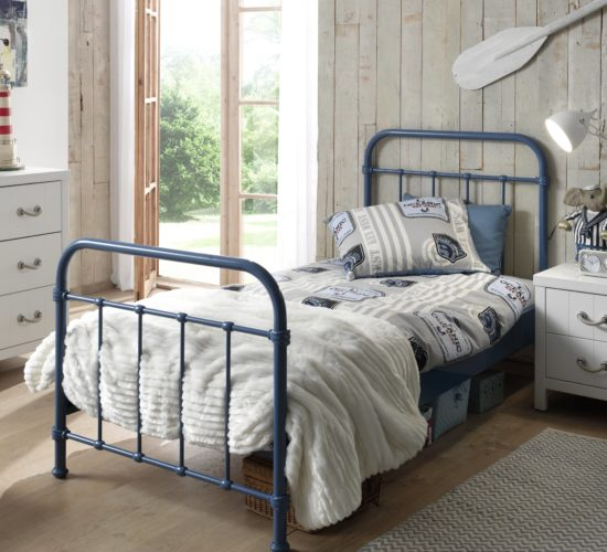 Oxford Metal Bed incl Slats - Blue (Single)
