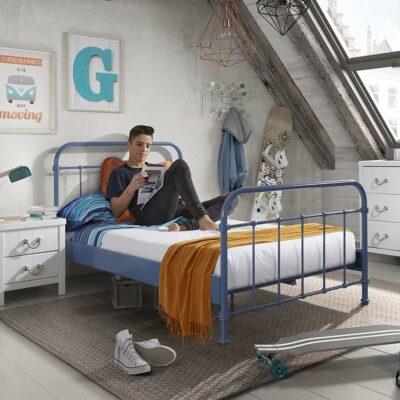 Oxford Metal Bed incl Slats - Blue (3/4)