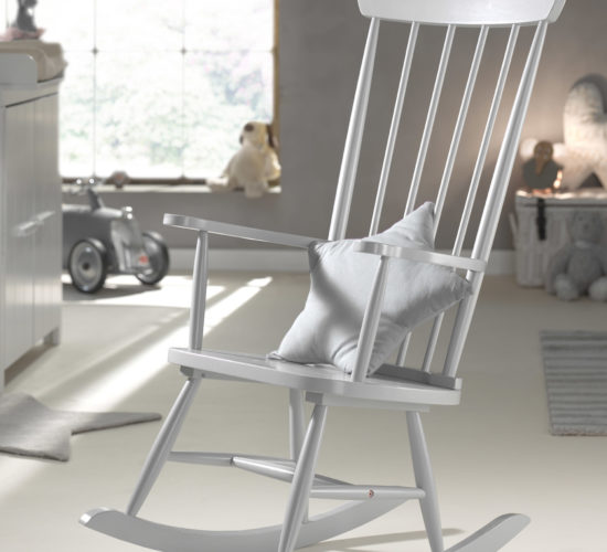 Rocking Chair (Solid Wood) - Cool Grey