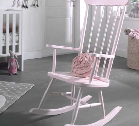 Rocking Chair (Solid Wood) - Dusty Pink